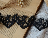 Venice Lace Trim - 2 yards Black Coral Flower Lace Trim (L430)