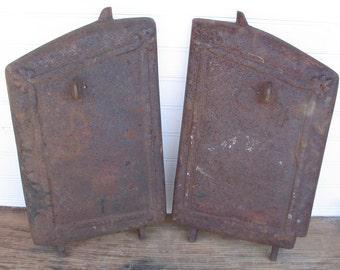 Vintage Cast Iron Wood Stove Doors 2 - Rustic Charm