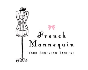 French Mannequin  Illustrated Premade Logo design- Tailor Boutique