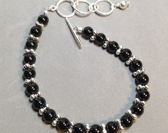 Onyx and Sterling Bracelet