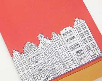 Amsterdam Notebook, Coral Red Journal, recycled journal, blank journal, A5 travel journal