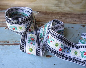 "Vintage Floral Ribbon 2"" Cotton Ribbon Gift Wrap Holiday Ribbon"