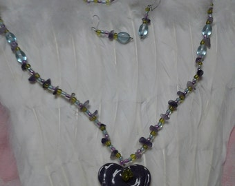 Handmade One of a Kind Necklace and Earring Set Ceramic Heart in Purple with Glass Beads in Purple Green Aqua Wear a Heart Near Your Heart