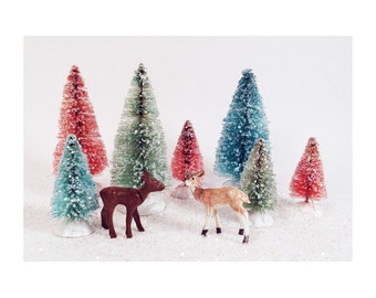 Hand Dyed and Glittered Bottle Brush Christmas Trees - Vintage Cottage Chic Holidays - 7 Trees 4 inch and 2.5 inch