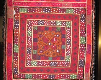 """Tribal Pillow, Cushion Cover with Afghanistan Hand Embroidery on Silk  by the Old Silk Route-27""""x22"""""""