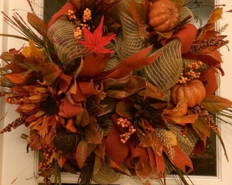 Beautiful Thanksgiving/Fall wreath can go on your door or mantel. It's 23x23
