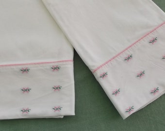 Vintage Pillow Case Pair White Cotton with Pink Floral Embroidered Band