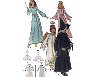 "Easy Child or Adult Costume Sewing Pattern Fairy Princess Angel Witch Galadriel Costume Size 4 Child or Adult Bust 31.5"" (80 cm)"