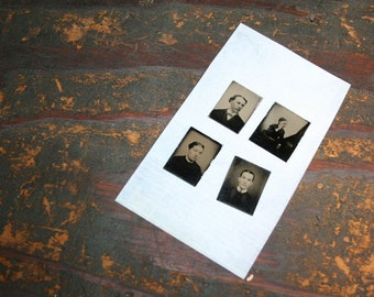 Vintage Gem Tintype - Set of 4  -  Altered Art, Mixed Media, Assemblage, Jewelry