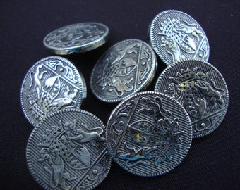 Seven 1970's Vintage Silver Metal Buttons Silver Color Nautical Military Buttons Shank Coat of Arms Heraldic 94