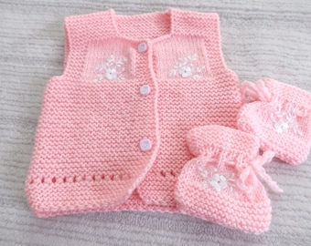 Knitting Baby Vest and Baby Boote....Pink and White ...Knitting Pattern...Sweater