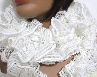 white Scarf  , chunky  Mulberry Long knitting Scarf