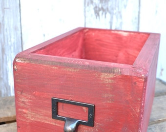 Library drawer -  card catalog red -  wood storage box - red filing drawer - Vintage Inspired