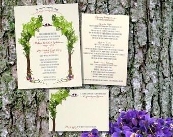 Tree of life Jewish wedding invitation  Hebrew Ani l'Dodi Customized to your event DEPOSIT