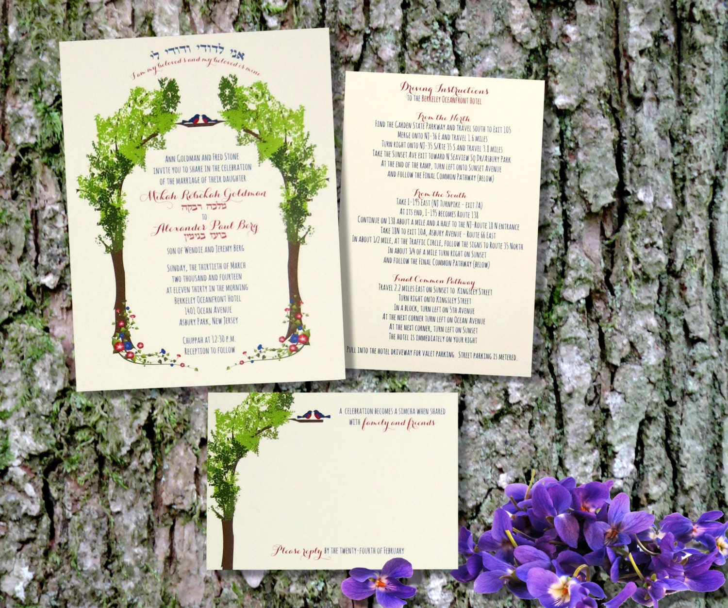 Tree Of Life Invitation Rsvp Celtic Life By: Tree Of Life Jewish Wedding Invitation Hebrew Ani L'Dodi