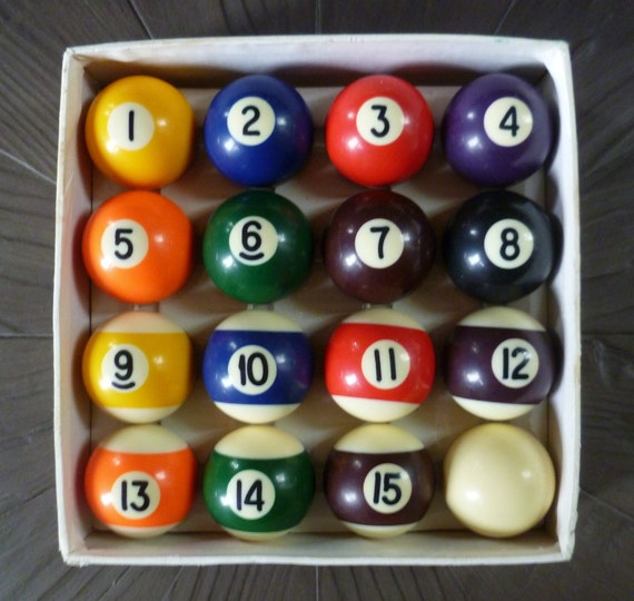 mini pool balls set of 16 in box vintage victor pool balls. Black Bedroom Furniture Sets. Home Design Ideas