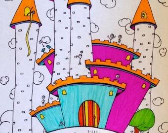 Kids Activity Printable Coloring Page Castle Instant pdf Digital Download Original Art