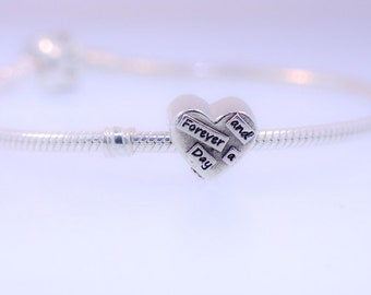 Forever And A day - Fine Silver fits Pandora Bracelet