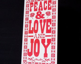 Letterpress Christmas Postcard - Peace Love and Joy
