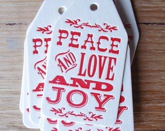 Set of 6 Letterpress Christmas Gift Tags Peace Love and Joy