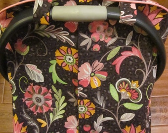 Fitted Car Seat Canopy / Cover -Beautiful and Colorful Floral print on a soft Cheetah background - Girl Car Seat Canopy