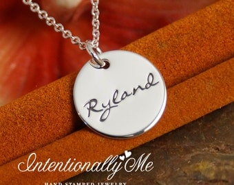 Personalized Jewelry - Hand Stamped Mommy Necklace - Sterling Silver -  Name Across Tag