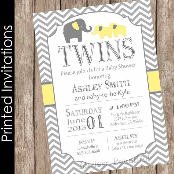 Printed Twin Elephant Boys Baby Shower Invitation Yellow and Gray
