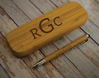 Personalized Bamboo Pen/Pen Case Set, Custom Engraved Pen Set, Bamboo Pen Set, Office Set, Executive Gift, Graduation, Recognition