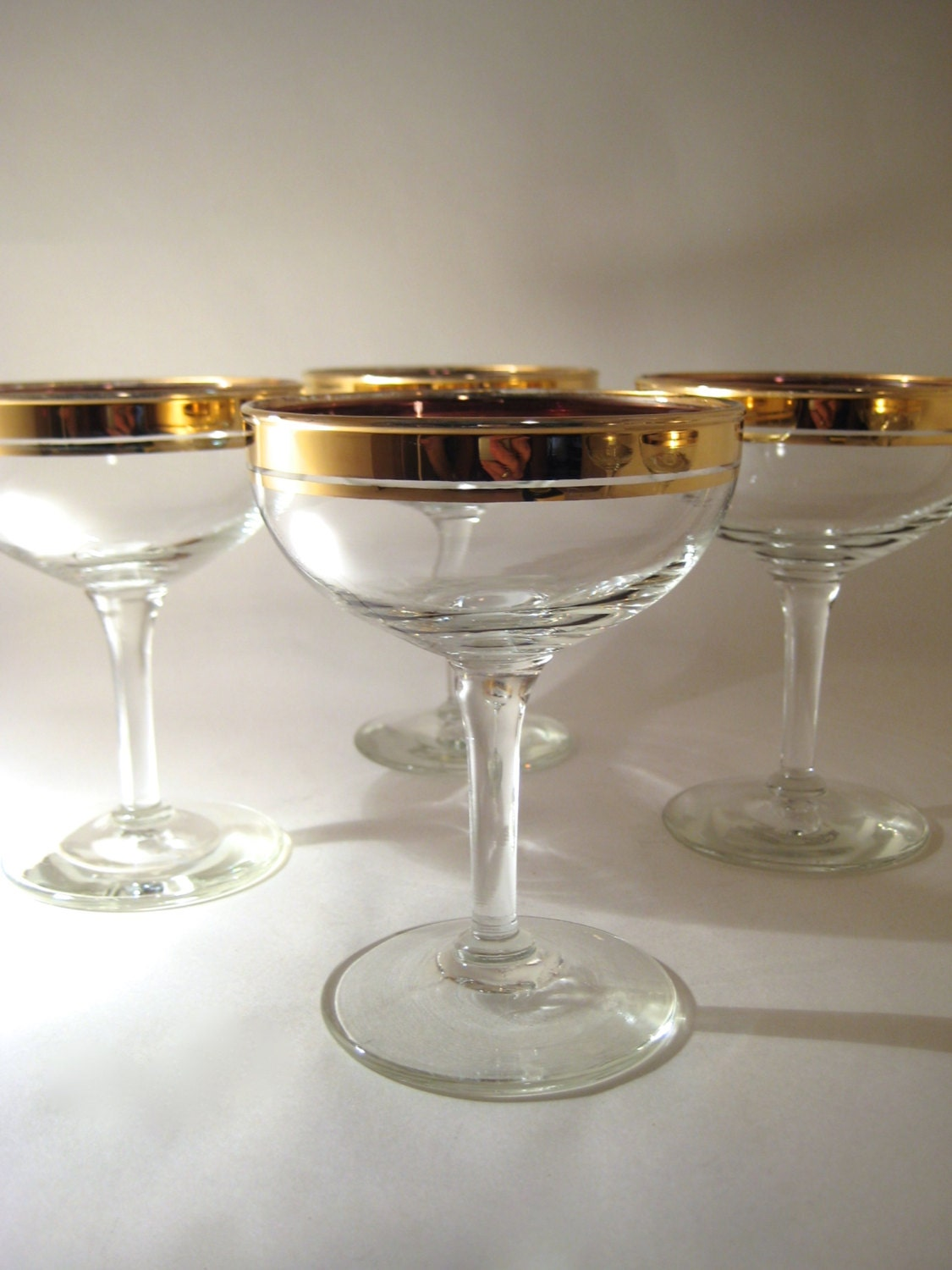 4 gold rimmed champagne coupes - Lenox gold rimmed wine glasses ...