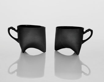 Black Porcelain cups set of two , ceramic cups handmade coffee cups or tea cups by Ende