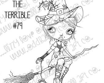 Digi Stamp Digital Instant Download Creepy Cute Big Eye Witch Girl On Broom ~ Tiffany the Terrible Image No. 79 & 79B by Lizzy Love