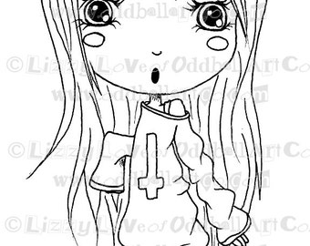 Digi Stamp Digital Instant Download Big Eye Creepy Cute Chibi Girl ~ Madeline Image No. 86 by Lizzy Love