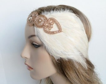 Champagne Flapper Headband, Flapper Headpiece, Gatsby Feather Headband, Bronze 20s Headpiece, 20s Feather Headpiece