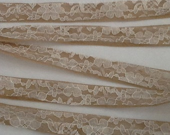 Burlap and Lace Ribbon, 1 Inch Wide, Wedding DIY Supplies, Wedding, Shower, Party, Home Decor, Crafting