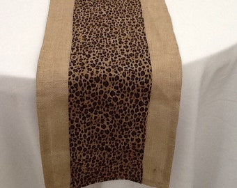 Cheetah Print and Burlap Table Runner, Custom Sizes Available, Home Decor, Baby Shower, Bridal Shower, Wedding, Party Decor