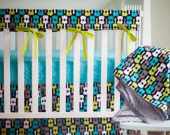 Guitar Crib Bedding. Rail Guards. Boy Crib Bedding. Minky Crib Sheet. Guitar Baby Bedding. Guitar Baby Blanket.  Crib Skirt. Guitar Bedding.
