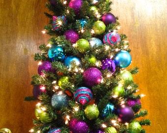 Pre-Lit Wall Tree Now Taking CUSTOM orders ONLY 4 Ft. Christmas Tree Door Wreath Pine 200 White Lights SHATTERPROOF Ornaments In Outdoor
