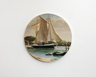 Paint by Number Large Circle Art Block 'Sail Away' - sailing, marina,  vintage seascape