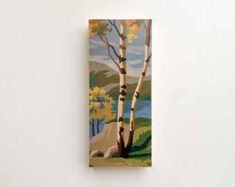 """Paint by Number Large  6"""" x 14"""" Art Block 'Autumn Birches' - fall color, autumnal, vintage landscape"""