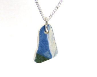 Blue and White Beach Pottery Necklace ELIN