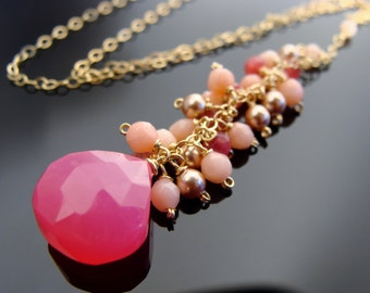 Hot Pink Chalcedony Coral 14k Gold Filled Gemstone Necklace