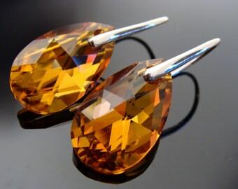 Swarovski Crystal Large Orange Drop Sterling Silver Earrings