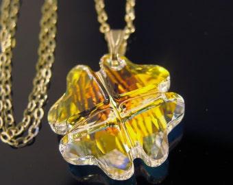 Swarovski Crystal AB Clover Pendant Sterling Silver Necklace