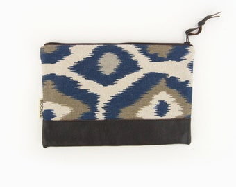 Ikat Zippered Pouch in Navy Blue, Taupe, Beige and Brown Recycled Leather Accent - Small Clutch, Coin Purse, Pencil Case, Handbag Organizer