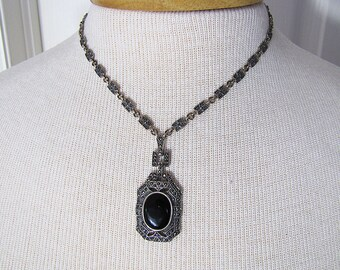 Vintage Onyx Art Deco style marcasite sterling silver necklace