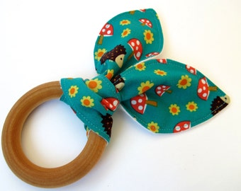 Natural Wooden Teething Ring - Hedgehogs Fabric - Woodland - Norwegian Woods - Organic Flannel