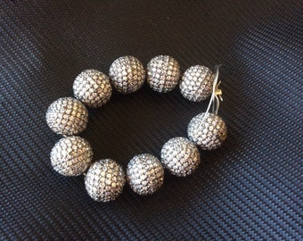 Pave Zircon Bead , 8 mm Genuine-sterling silver and zircon Beads