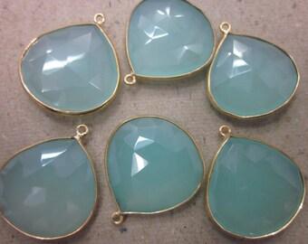Chalcedony light green cut heart shape Connectors Pendants, Bezel Set, Gold Vermeil, 1 piece, 25-25 mm
