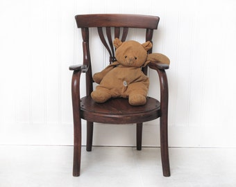 Antique French Children's chair, old french toy, children furniture, Thonet style, child Arm Chair