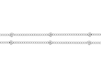 Sterling Silver 1mm Satellite Chain with 2mm Bead - 5ft (2315-5)/1